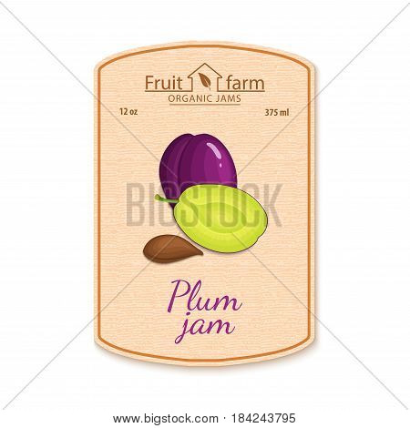 Vector plum jam lable. Composition of purple plum fruits. Design of a sticker for a jar with plums jam, fruit marmalade, juice, smoothies, detox. Sticker in retro style with texture for your design.