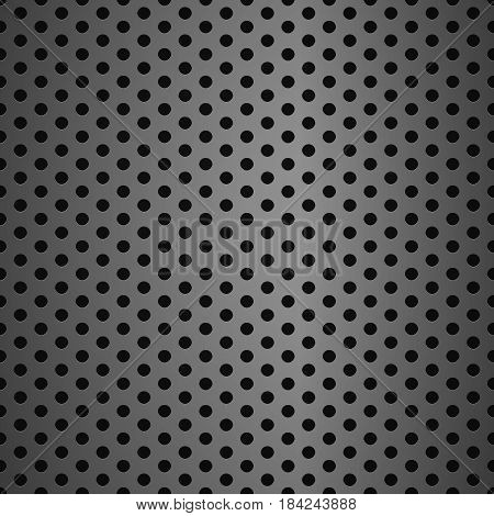 Metal grid background with holes grey metallic background seamless pattern steel  realistic grid microphone  texture