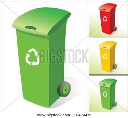 Rubbish bins, three colours