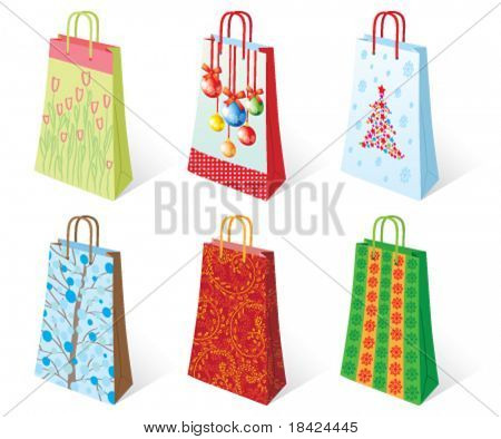 Six holiday bags for presents