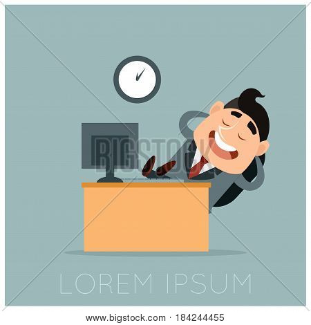 Vector image of the Business concept of a lazy worker at his work