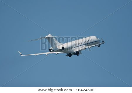 Private jet is taking off