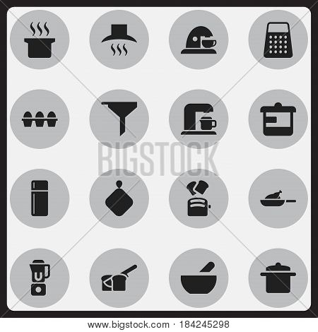 Set Of 16 Editable Food Icons. Includes Symbols Such As Egg Carton, Cookware, Slice Bread And More. Can Be Used For Web, Mobile, UI And Infographic Design.