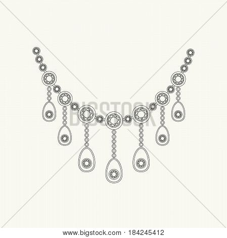 Necklace with diamonds line drawing. Vector thin illustration of jewelry accessories.
