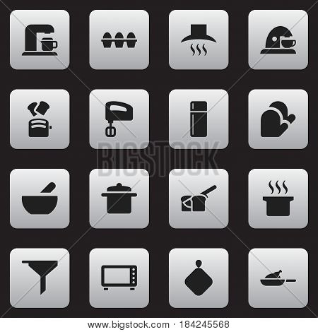 Set Of 16 Editable Food Icons. Includes Symbols Such As Pot-Holder, Egg Carton, Refrigerator And More. Can Be Used For Web, Mobile, UI And Infographic Design.