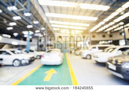 Blur Background Of Technician Repairing Body And Paint The Car In Garage In A Workshop.