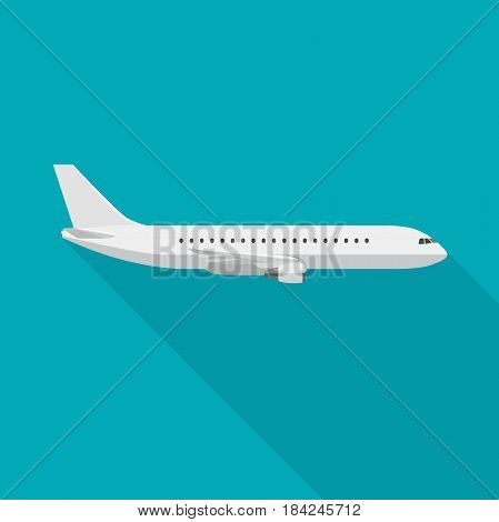Plane with long shadow in flat style. Vector side view of airplane.