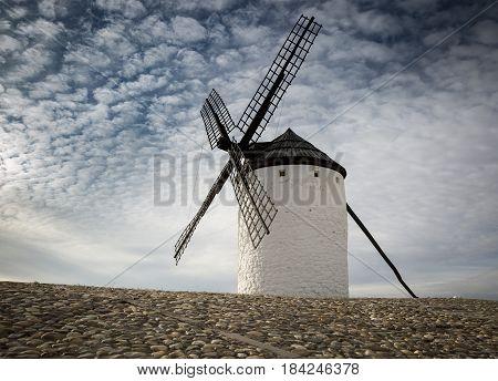 windmill in Campo de Criptana town, province of Ciudad Real, Castilla-La Mancha, Spain