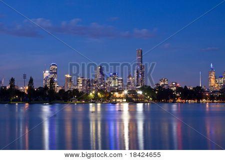 Melbourne night CBD panorama