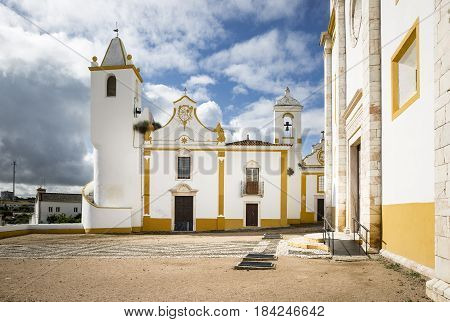 Communal tower, Misericordia and Senhor dos Passos churches in Veiros town, Estremoz, Portugal
