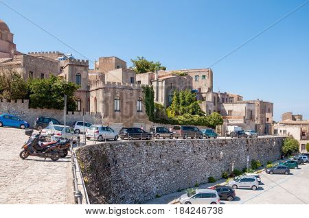 ERICE ITALY - SEPTEMBER 12 2015: Landscape of the Erice town located near Trapani Sicily