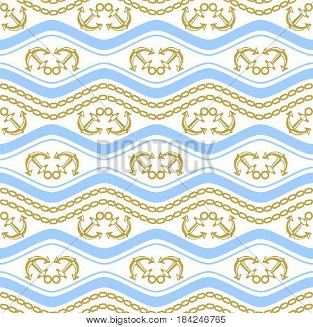 Seamless pattern with chains. Ongoing stripes background of marine theme blue and golden colors. Vector illustration