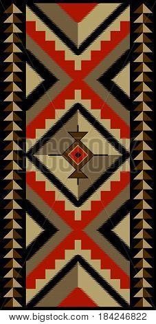 Geometric blanket pattern, American Indians, Navajo tribal style.