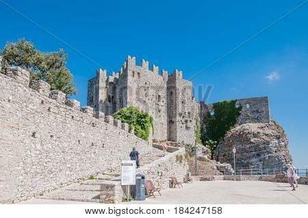 ERICE ITALY - SEPTEMBER 12 2015: Castle in Erice province of Trapani in Sicily