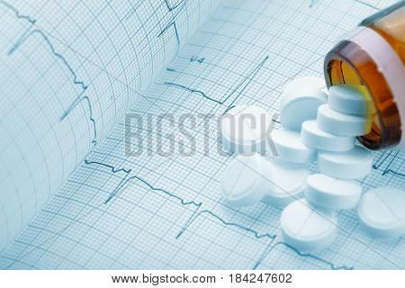 Medical pills on the background of a cardiogram