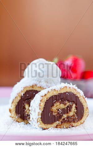 Chocolate Coconut Cake  Roll With Whipped Cream