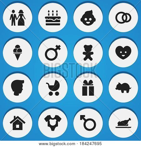 Set Of 16 Editable Kin Icons. Includes Symbols Such As Baby, Perambulator, Patisserie And More. Can Be Used For Web, Mobile, UI And Infographic Design.