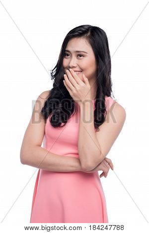 Asian Shy Girl Smiling Portrait With Hands In Face