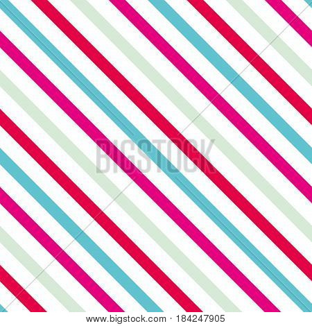 Background with a slanted diagonal stripes lines. Blue green and pink color. Vector illustration. Geometric background print on paperfabric gift wrap packaging bedding lining apparel