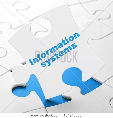 Data concept: Information Systems on White puzzle pieces background, 3D rendering
