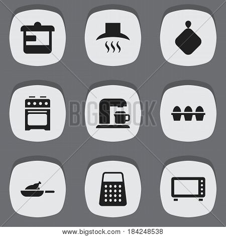 Set Of 9 Editable Cooking Icons. Includes Symbols Such As Oven, Shredder, Drink Maker And More. Can Be Used For Web, Mobile, UI And Infographic Design.
