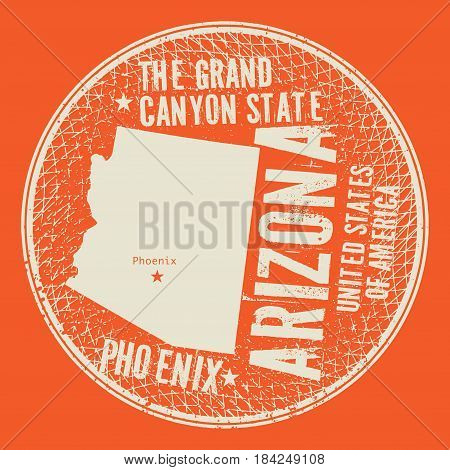 Grunge vintage round stamp or label with text Phoenix Arizona The Grand Canyon state vector illustration