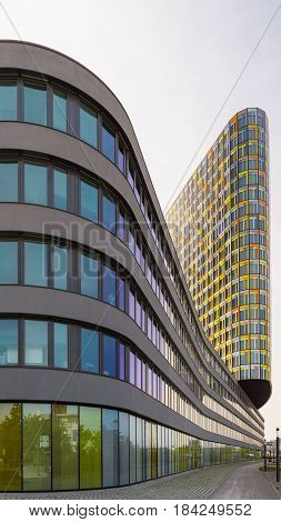 Munich Germany - May 12 2015: Exterior of unusual office building with smooth flowing. Headquarters of German automobile club ADAC.