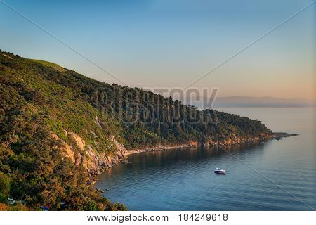 View from the top of mountains of Buyukada island one of the Princess Islands (Adalar) Marmara Sea Istanbul Turkey with green woods calm sea and clear sky at sunset time