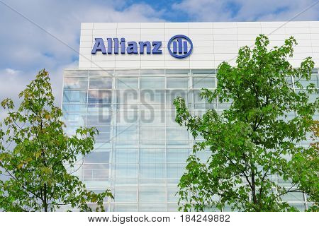 Munich Germany - August 22 2014: Modern headquarters and office building of Allianz SE insurance company and financial investment group