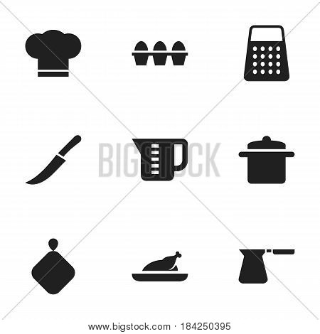 Set Of 9 Editable Meal Icons. Includes Symbols Such As Shredder, Fried Chicken, Sword And More. Can Be Used For Web, Mobile, UI And Infographic Design.