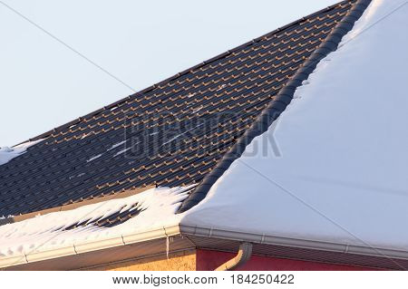 Snow on the roof of the house at sunset .
