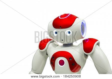 Sofia, Bulgaria - 17 December, 2016: Programmable robot for education isolated on a white background. Electronic white and red robot which can walk and execute user's commands. A low level artificial intelligence AI.