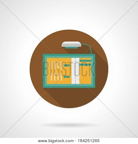 Symbol of advertising board with illumination. Place for announcements, events information. Round flat design vector icon.