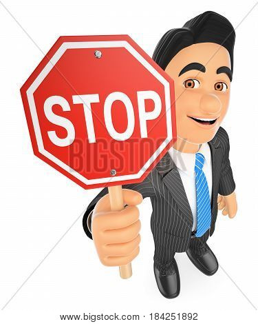 3d business people illustration. Businessman with a stop sign. Isolated white background.