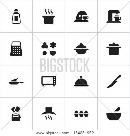 Set Of 16 Editable Cooking Icons. Includes Symbols Such As Soup, Soup Pot, Sword And More. Can Be Used For Web, Mobile, UI And Infographic Design.