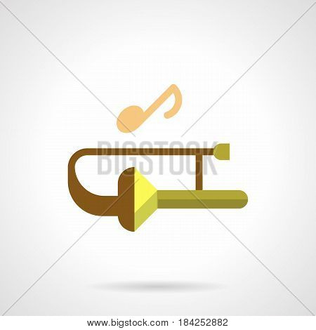 Abstract symbol of trombone with single note. Festival of brass wind music. Flat color style vector icon.