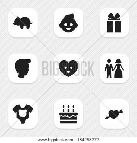 Set Of 9 Editable Kin Icons. Includes Symbols Such As Moneybox, Gift, Love And More. Can Be Used For Web, Mobile, UI And Infographic Design.