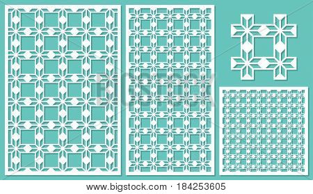 Set of decorative panels laser cutting. Elegant geometric pattern. The ratio of 2: 3, 1: 2, 1: 1, seamless. Vector illustration.