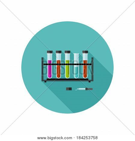 Chemical laboratory vector icon with test tubes. Flat illustration of chemical experiences.