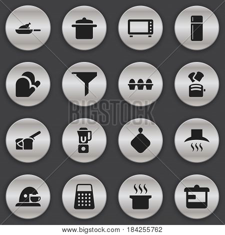 Set Of 16 Editable Meal Icons. Includes Symbols Such As Cup, Soup Pot, Cookware And More. Can Be Used For Web, Mobile, UI And Infographic Design.
