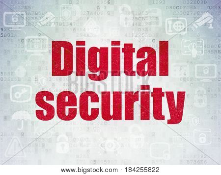 Security concept: Painted red text Digital Security on Digital Data Paper background with  Scheme Of Hand Drawn Security Icons