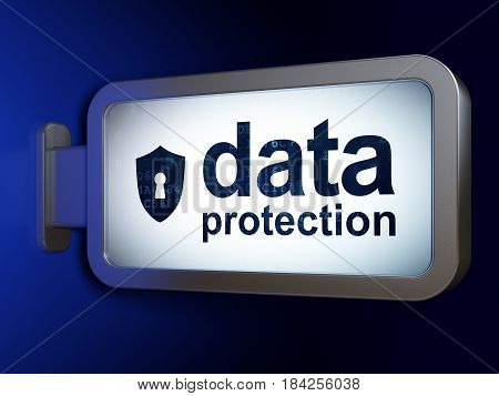 Safety concept: Data Protection and Shield With Keyhole on advertising billboard background, 3D rendering