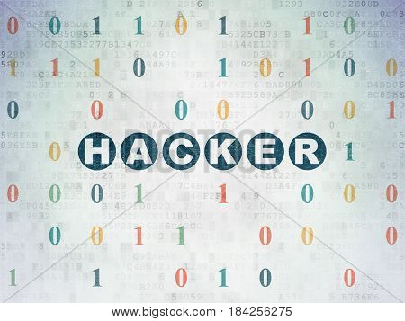 Security concept: Painted blue text Hacker on Digital Data Paper background with Binary Code