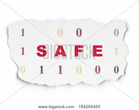 Privacy concept: Painted red text Safe on Torn Paper background with  Binary Code