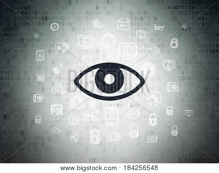 Security concept: Painted black Eye icon on Digital Data Paper background with  Hand Drawn Security Icons