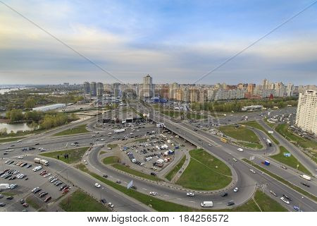 Kiev cityscape at sunset high view with wide angle