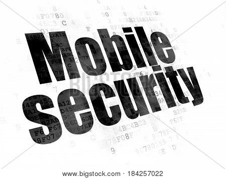 Safety concept: Pixelated black text Mobile Security on Digital background