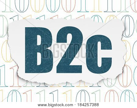 Business concept: Painted blue text B2c on Torn Paper background with  Binary Code