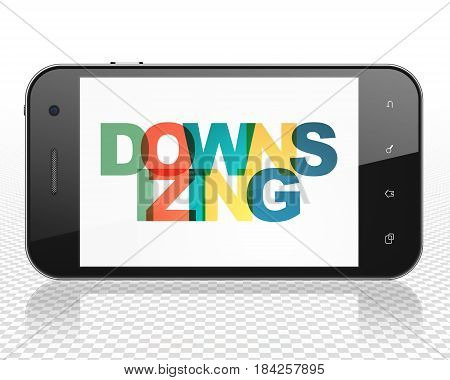 Finance concept: Smartphone with Painted multicolor text Downsizing on display, 3D rendering