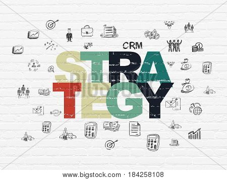 Finance concept: Painted multicolor text Strategy on White Brick wall background with  Hand Drawn Business Icons